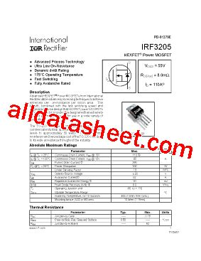 irf3205 datasheet pdf international rectifier