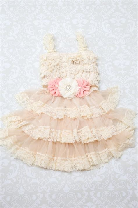 blush ivory flower girl dress chagne flower girl dress lace flower girl dress shabby
