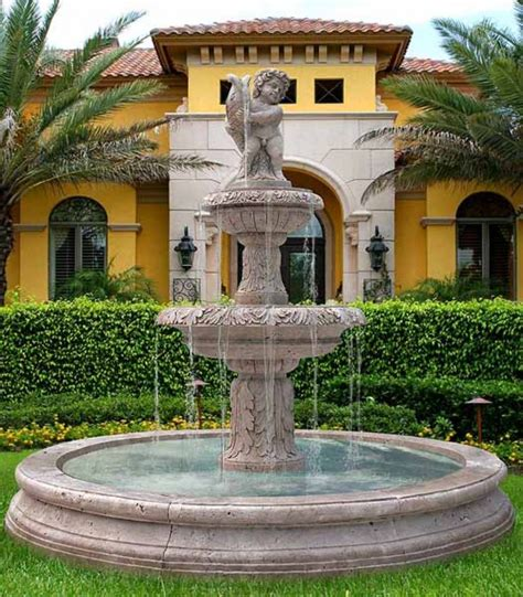 Exterior Classy Front Yard Fountain For Extravagant House Exterior Impression Luxury