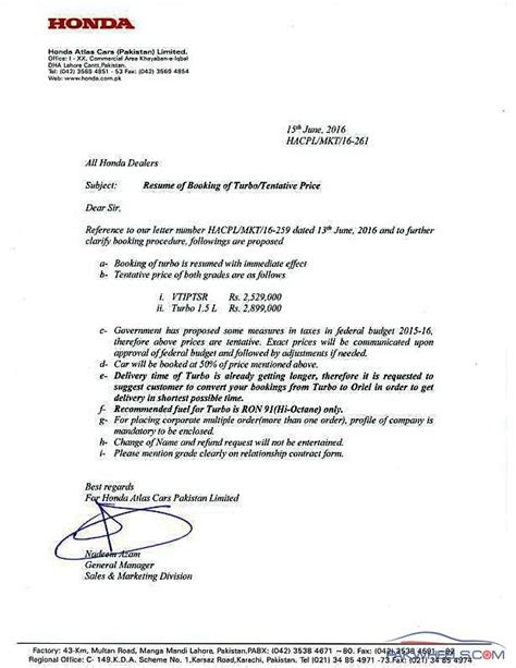 Official Letter Format Pakistan Honda Issues Booking Guidelines Pricing For 2016 Civic