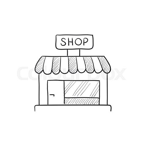 sketchbook shop shop store vector sketch icon isolated on background