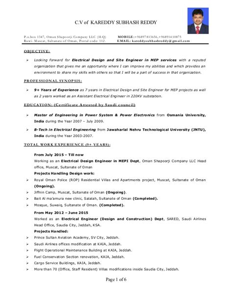 Site Engineer Resume Sample by Resume Electrical Design And Site Engineer Mep 9 Years