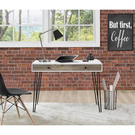 altra owen retro desk altra furniture owen white and sonoma oak desk 9890296com