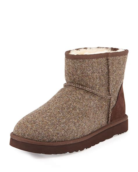 ugg boots for ugg tweed classic mini boot in brown for lyst