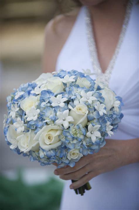 blue wedding bouquets blue hydrangeas vendelas roses ivory roses stephanotis