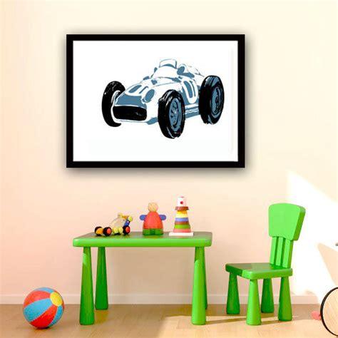 The Racing Blue Car Fine Art Print Nursery Decorating Car Nursery Decor