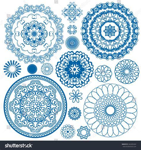 china blue pattern vector set blue floral circle patterns background 库存矢量图 342285404