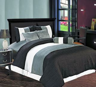 Stripes 8804 Set 3 In One 8 black white bedding accent color