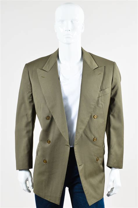 Blazer Green Style Style 42 mens brioni olive green wool breasted blazer jacket sz 42 52 ebay