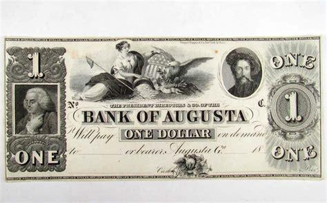 augusta bank neusäß 1545 c 1850 s bank of augusta ga 1 dollar note unc
