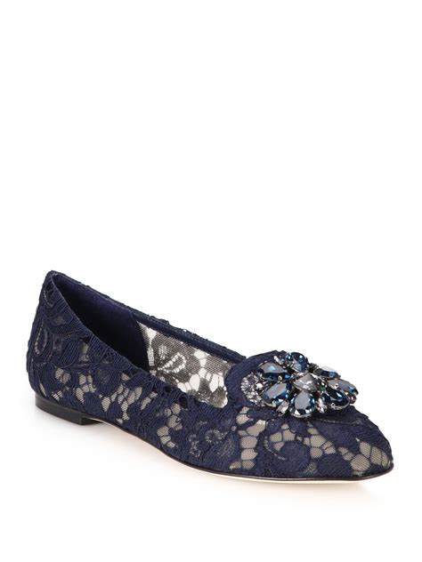loafers and laces lyst dolce gabbana embellished lace loafers in blue
