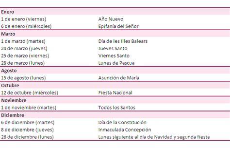 Calendario Con Fechas Festivas 2017 Calendario Laboral 2016 Y 2017