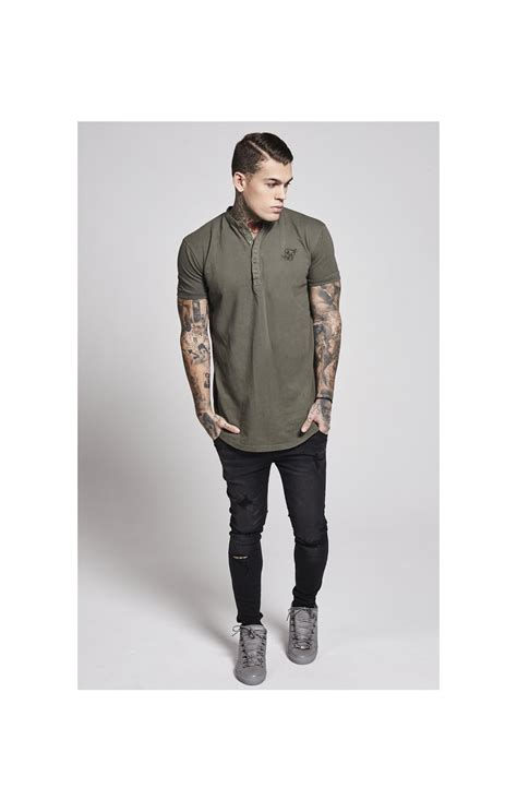Siksilk Collarless Polo Shirt siksilk s s collarless polo shirt t shirt khaki