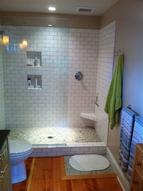 Inexpensive Bathroom Tile Ideas Here S An Inexpensive Prefabricated Doorless Walk In Shower Remodel Ideas Pinterest Small