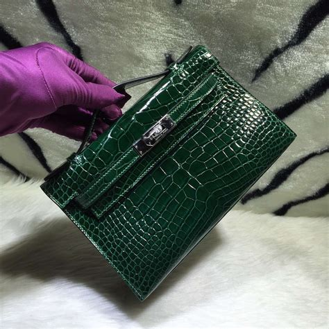 Herms Skin Mini Sling Bag stitching hermes mini bag ck67 emerald green crocodile skin hermes crocodile birkin bag