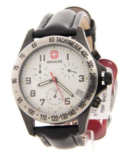Swiss Army Date Chrono Black Leather Grade A wenger swiss black leather field century chronograph tachymeter date 70883