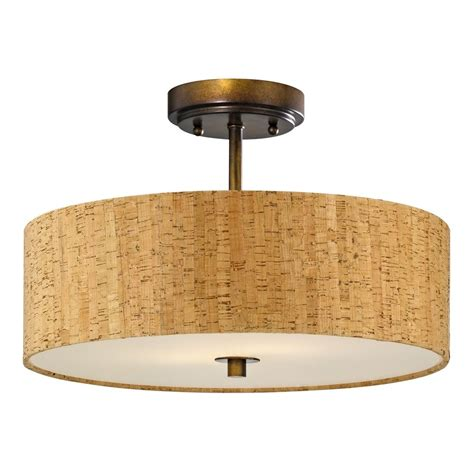 Drum Lighting For Ceilings Bronze Ceiling Light With Drum Cork Shade 16 Inches Wide