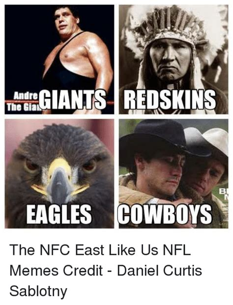 Cowboys Redskins Meme - giants redskins andre the giak eagles cowboys the nfc east