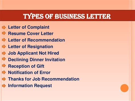 What Are The Kinds Of Business Letter According To Purpose the gallery for gt types of business letters