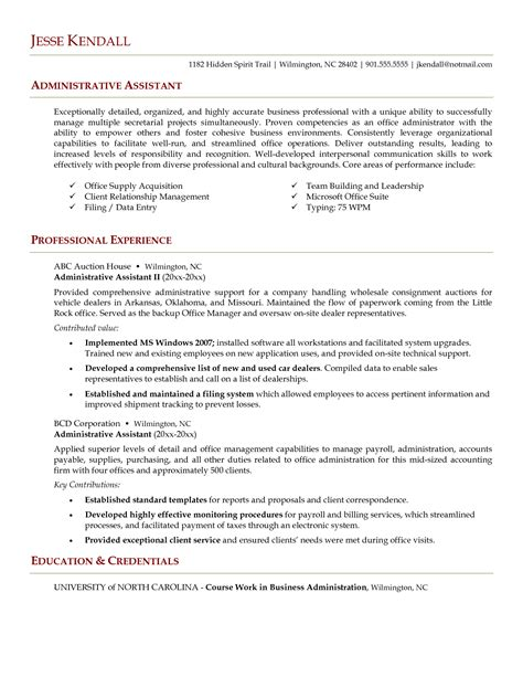 administrative assistant resume skills writing resume sle writing resume sle