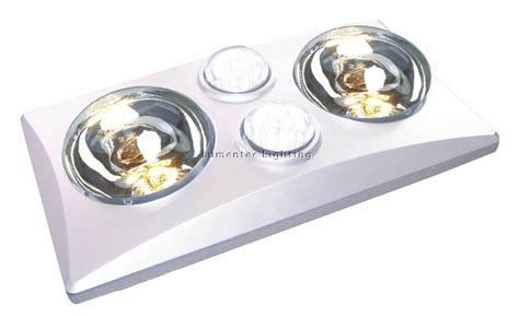 Bathroom Heat Lights Bl0004 Eko Duo 2 Light 3 In 1 Bathroom Heat Exhaust With 2 Centre 11 Watt Energy Saver Globes