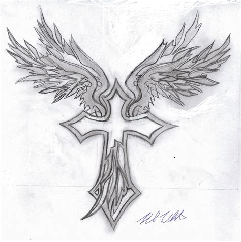 angel wings tattoo with cross mania tribal wings cross