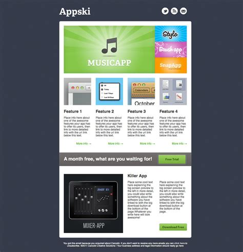 appski app promotional email template by cazoobi