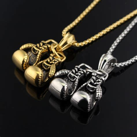 24k gold silver plated fashion mini boxing glove necklace