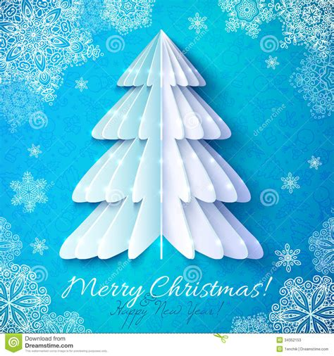 white origami paper christmas tree stock vector image