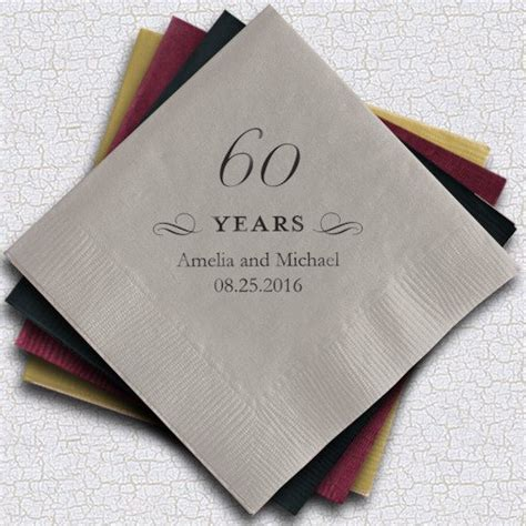 60th anniversary color personalized 60th anniversary napkins 25 colors
