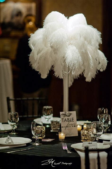 ostrich feather table centerpieces white ostrich feather centerpiece photo by edricmorales centerpiece by nixon events
