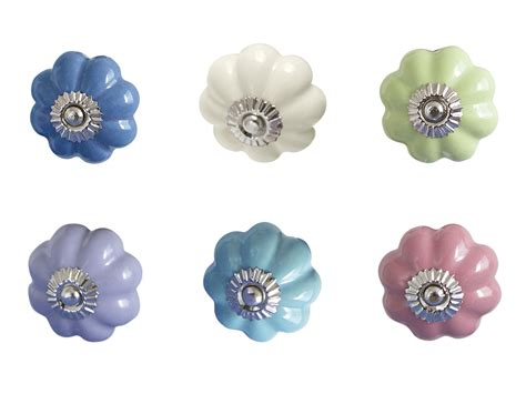 Flower Drawer Knobs by Bombay Duck Plain Flower Ceramic Cupboard Drawer Door