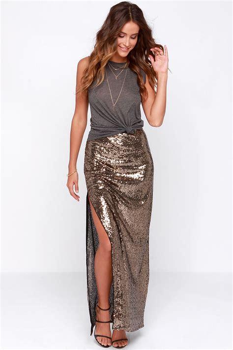 Black Slit Roses S M L Skirt 43355 1 gold skirt gold sequin skirt gold maxi skirt 49 00