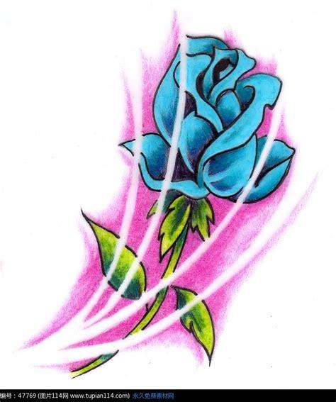 蓝色妖姬纹身图案高清图片 其他 图片114