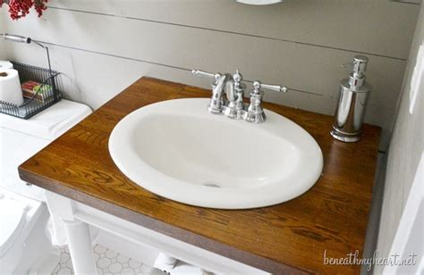butcher block bathroom sink diy butcher block vanity beneath my