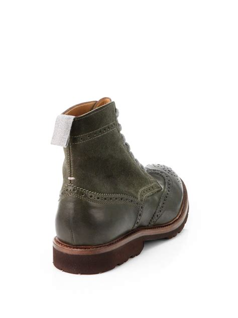 boots green brunello cucinelli leather suede wingtip boots in green