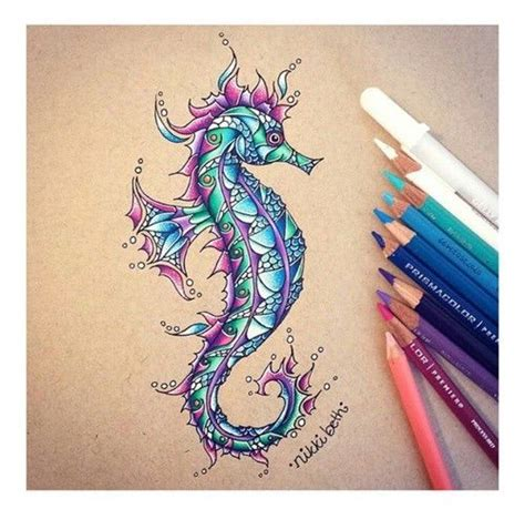 mandala 2 watercolor and pen tattoo style speed drawing beautiful zentangle and seahorses on pinterest