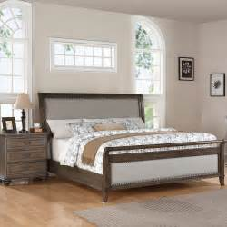 Wood And Upholstered Headboard Belmeade Wood Sleigh Upholstered Bed In World Oak Humble Abode