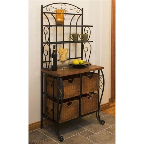 iron wicker bakers rack home pantry kitchen furniture best 25 contemporary bakers racks ideas on pinterest