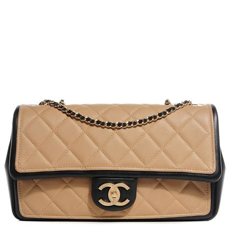 Chanel Quilted Calfskin Doctor Bag by Chanel Calfskin Quilted Graphic Medium Flap Bag Beige