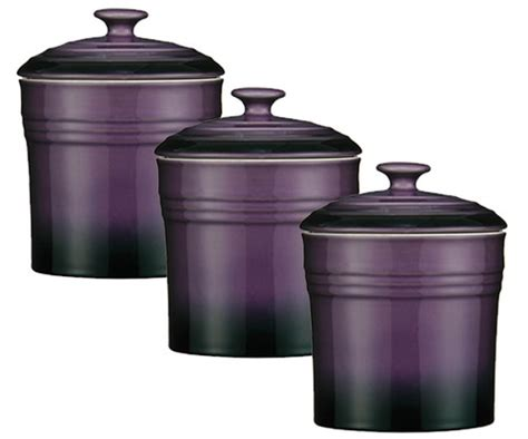 Purple Canisters For The Kitchen Purple Set Of 3 Storage Canisters Tea Coffee Sugar Jars