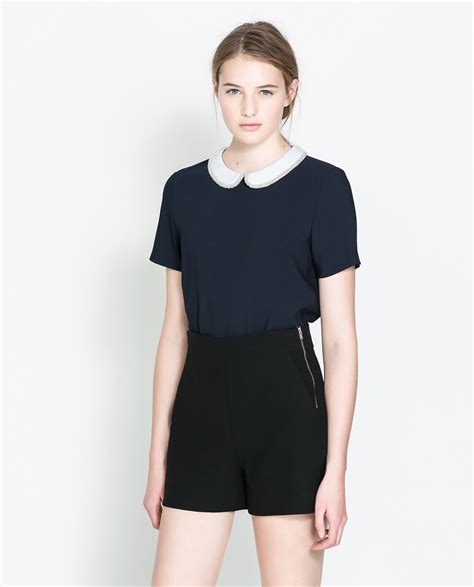Blouse Zara Zara Blouse With Combination Collar In Blue Lyst