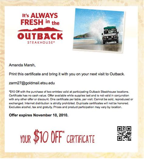 Outback Steakhouse Gift Card Promo - outback steakhouse coupon codes coupons free shipping party invitations ideas