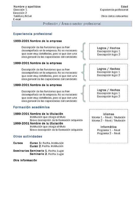 Plantilla Curriculum Vitae Experiencia Ni Estudios Plantillas De Cv Modelo 2 Modelo Curriculum