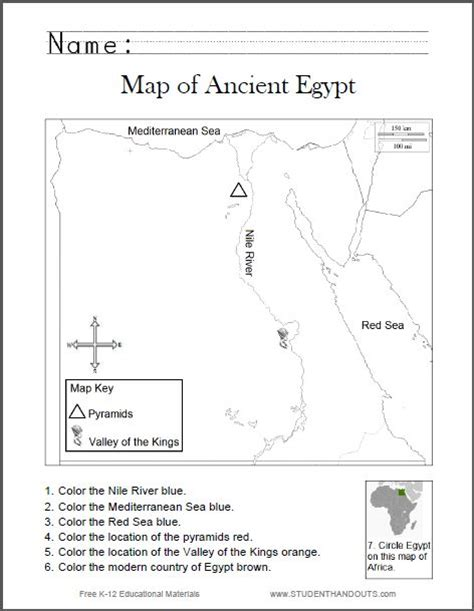 map of ancient egypt worksheet for kids grades 1 6 free