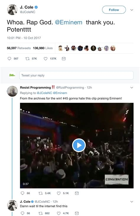 twitter reacts to eminem s donald trump cypher with praise j cole reacts to eminem s bet cypher co signs clip of