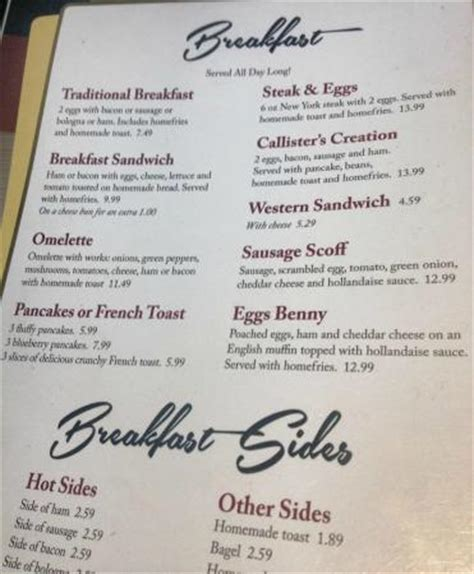 breakfast menu picture of callister s country kitchen coldbrook tripadvisor