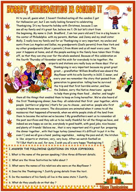 thanksgiving reading comprehension worksheet free esl