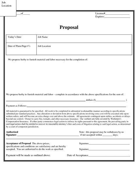 best photos of contractor job proposal template general