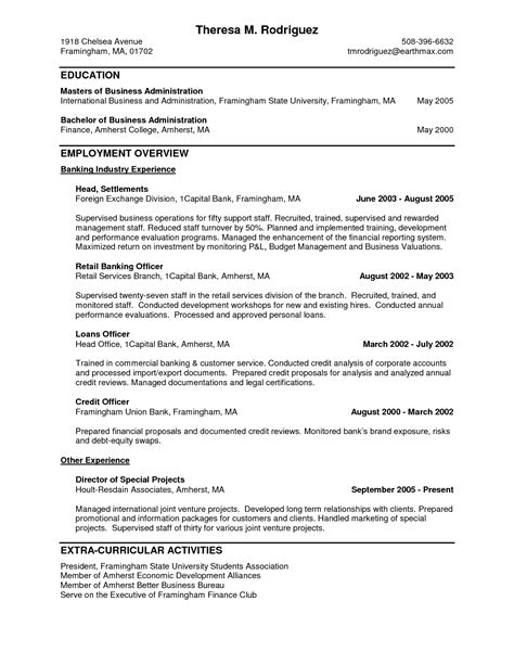 personal banker resume objectives resume sle writing resume sle writing resume sle